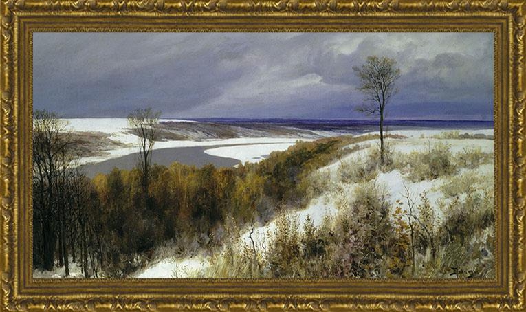 Арт-постер в багете Ранний снег (В.Д. Поленов), 21 x 40 см