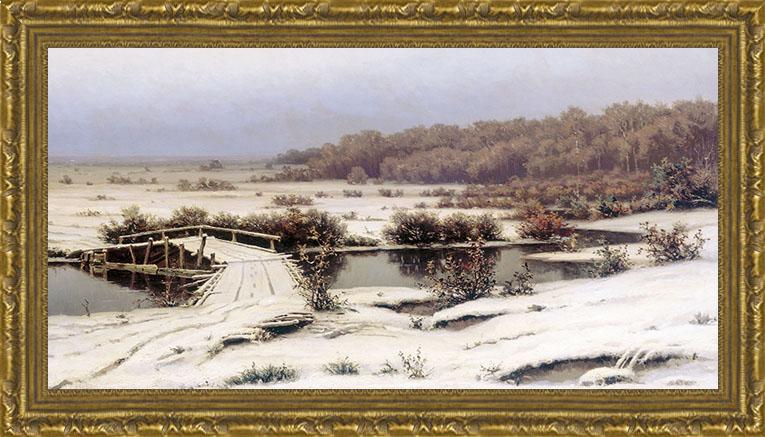 Ранний снег (Е.Е. Волков), 22 x 40 см22x40 OZ139-50601Художественная репродукция картины Е.Е. Волкова Ранний снег Размер постера: 22 см x 40 см. Артикул: 22x40 OZ139-50601.