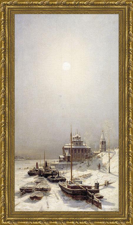Арт-постер в багете Зима в Борисоглебске (А. П. Боголюбов), 23 x 40 см