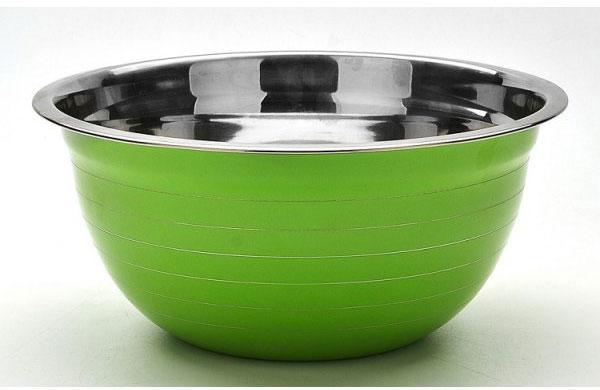 Миска Mayer & Boch, цвет: салатовый, диаметр 26,5 см22747_салатовыйКруглая миска Mayer & Boch изготовлена из высококачественной нержавеющей стали. Изделие очень функционально, оно пригодится на кухне для самых разнообразных нужд: в качестве салатника, миски, тарелки и многого другого. Диаметр (по верхнему краю): 26,5 см.