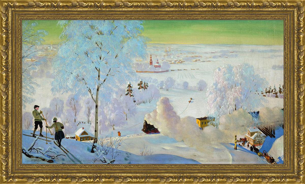 Арт-постер в багете Лыжники (Б.М. Кустодиев), 24 x 40 см