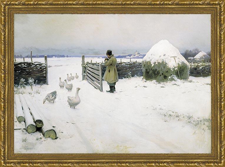 Снег выпал (М.М. Гермашев), 28 x 40 см28x40 OZ140-50601Художественная репродукция картины М.М. Гермашева Снег выпал Размер постера: 28 см x 40 см. Артикул: 28x40 OZ140-50601.