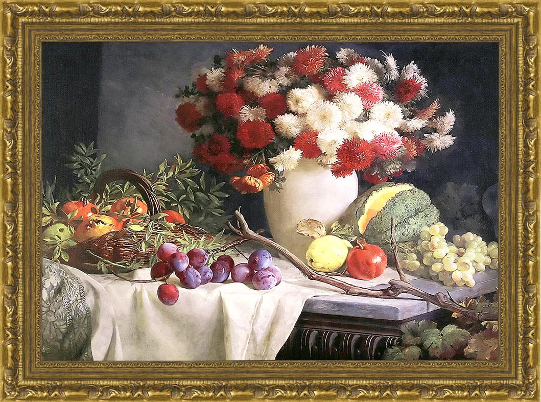 Цветы и фрукты. (В. Д. Сверчков), 30 x 40 см30x40 21502001-50601Художественная репродукция картины В.Д. Сверчкова Цветы и фрукты. Размер постера: 30 см x 40 см. Артикул: 30x40 21502001-50601.