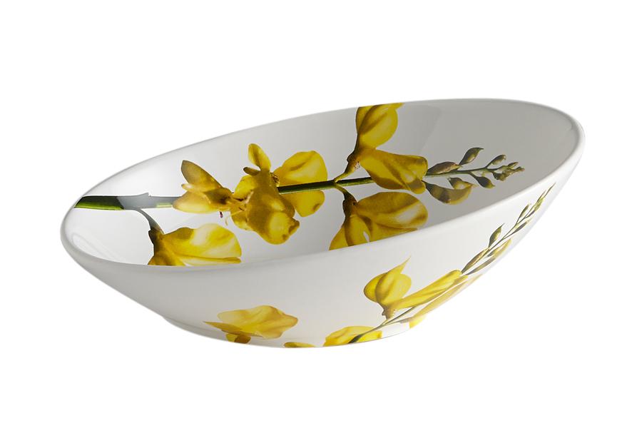 Салатник Ceramiche Viva Лето, 25 х 17 х 9 смCV2-43239-ALСалатник Ceramiche Viva Лето изготовлен из высококачественной керамики и оформлен красивым растительным рисунком. Поверхность изделия покрыта высококачественной глазурью, не содержащей свинца. Изделие имеет оригинальную овальную форму со скошенным краем. Отлично подходит для сервировки салатов, закусок, овощей и фруктов. Керамическая посуда итальянской фабрики Ceramiche Viva известна не только своим превосходным качеством, но и удивительными, неповторимыми дизайнами, отличающими ее от любой другой керамической посуды. Помимо внешней привлекательности посуда Ceramiche Viva обладает и прекрасными практическими свойствами: ее можно мыть в посудомоечной машине и использовать в микроволновой печи.