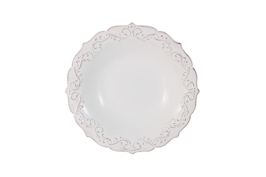 Тарелка суповая Винтаж (белый). IMA0315F-DH157ALIMA0315F-DH157ALIMARI производит широкий ассортимент посуды из высококачественной керамики, основным ингредиентом которой является твердый доломит, поэтому все керамические изделия IMARI - легкие, белоснежные, прочные и устойчивы к высоким температурам. Высокое качество изделий достигается не только благодаря использованию особого сырья и новейших технологий и оборудования при изготовлении посуды, но также благодаря строгому контролю на всех этапах производственного процесса на фабрике в Китае. Нанесение сверкающей глазури, не содержащей свинца, придает изделиям IMARI превосходный блеск и особую прочность. Изделия IMARI можно мыть в посудомоечных машинах