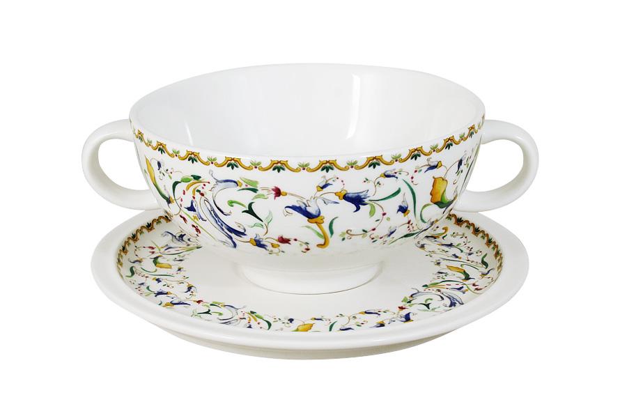 Суповая чашка на блюдце Шампань. IMB0304-A2055ALIMB0304-A2055ALIMARI производит широкий ассортимент посуды из высококачественной керамики, основным ингредиентом которой является твердый доломит, поэтому все керамические изделия IMARI - легкие, белоснежные, прочные и устойчивы к высоким температурам. Высокое качество изделий достигается не только благодаря использованию особого сырья и новейших технологий и оборудования при изготовлении посуды, но также благодаря строгому контролю на всех этапах производственного процесса на фабрике в Китае. Нанесение сверкающей глазури, не содержащей свинца, придает изделиям IMARI превосходный блеск и особую прочность. Изделия IMARI можно мыть в посудомоечных машинах
