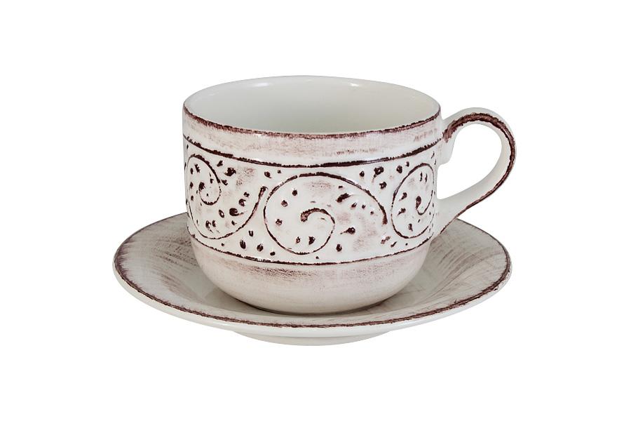 Чайная пара LCS Медичи, 2 предметаLCS933TP-ME-ALЧайная пара LCS Медичи состоит из чашки и блюдца, изготовленных из высококачественной керамики. Яркий дизайн изделий, несомненно, придется вам по вкусу. Чайная пара LCS Медичи украсит ваш кухонный стол, а также станет замечательным подарком к любому празднику. Объем чашки: 500 мл.