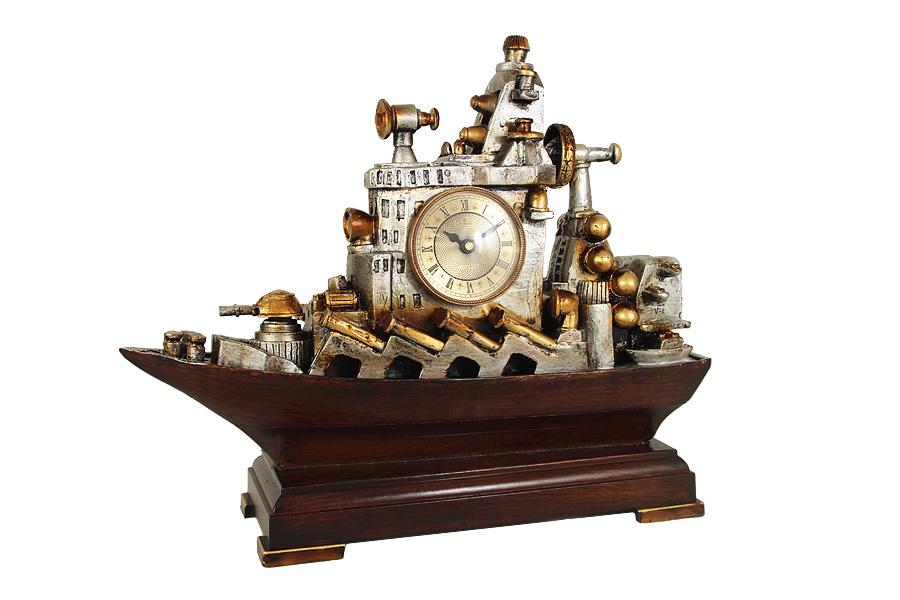 Часы настольные Военный корабль. LI1403M-ALLI1403M-ALКомпания LISHENG – частное предприятие, в течение многих лет специализирующееся на производстве предметов интерьера из полирезина. Основные направления ассортимента: настенные, настольные и напольные часы, светильники, телефоны в стиле ретро, фонтаны, разнообразные украшения для дома. Передовые технологии и инновационные идеи позволяют мастерам компании в полной мере проявить свое искусство и изобретательность при создании предметов интерьера. Все модели имеют оригинальный фигурный корпус, выполненный из полирезина - экологичного и безвредного полимерного материала, высокие гигиенические качества которого заключаются в отсутствии запаха и легкости ухода за поверхностями изделия. Во всех часах установлен высококачественный кварцевый механизм. Некоторые модели дополнительно снабжены термометром.