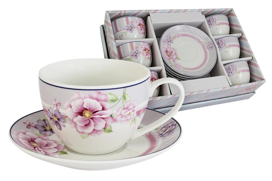 Набор: 6 чашек + 6 блюдец Цветочная феерия. PW-ZL06-111-AL акватон мебель для ванной акватон минима