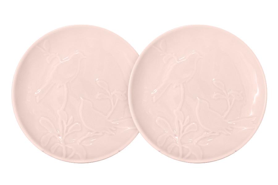 Набор из 2-х тарелок закусочных Птицы (розовая). SL-SP15016p-ALSL-SP15016p-AL