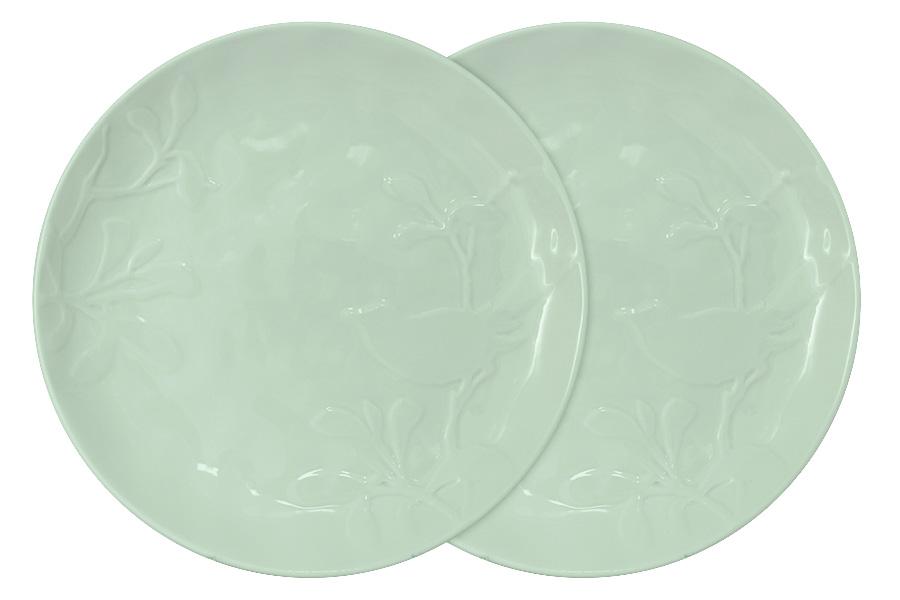 Набор из 2-х тарелок обеденных Птицы (зеленая). SL-SP15072gr-ALSL-SP15072gr-AL