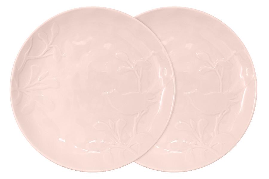 Набор из 2-х тарелок обеденных Птицы (розовая). SL-SP15072p-ALSL-SP15072p-AL