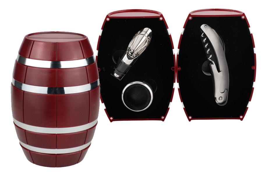 Винный набор 3 пр. Бочонок красный.. WT608012BR-ALWT608012BR-ALКультура потребления вина предполагает использование различных винных аксессуаров – для откупоривания бутылки, декантирования, охлаждения (например, белого вина и игристых вин) и подачи. Эти предметы значительно облегчают жизнь любителям вина, создавая особую атмосферу за столом и гарантируя наслаждение от процесса.
