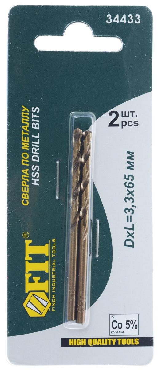 Сверло по металлу FIT, диаметр 3,3 мм, 2 шт34433Сверло по металлу и дереву FIT, выполненное из HSS высококачественной быстрорежущей инструментальной стали, предназначено для выполнения сквозных и глухих отверстий в легированной и нелегированной стали, сером чугуне, металлокерамическом сплаве на основе железа, ковком чугуне, цветном металле. Угол заточки 135° обеспечивает высокую скорость сверления и центровку сверла. Шлифовка сверла обеспечивает стабильность размеров и малое значение осевого и радиального биения, предотвращает увод сверла и разбивку отверстий. Комплектация: 2 шт.