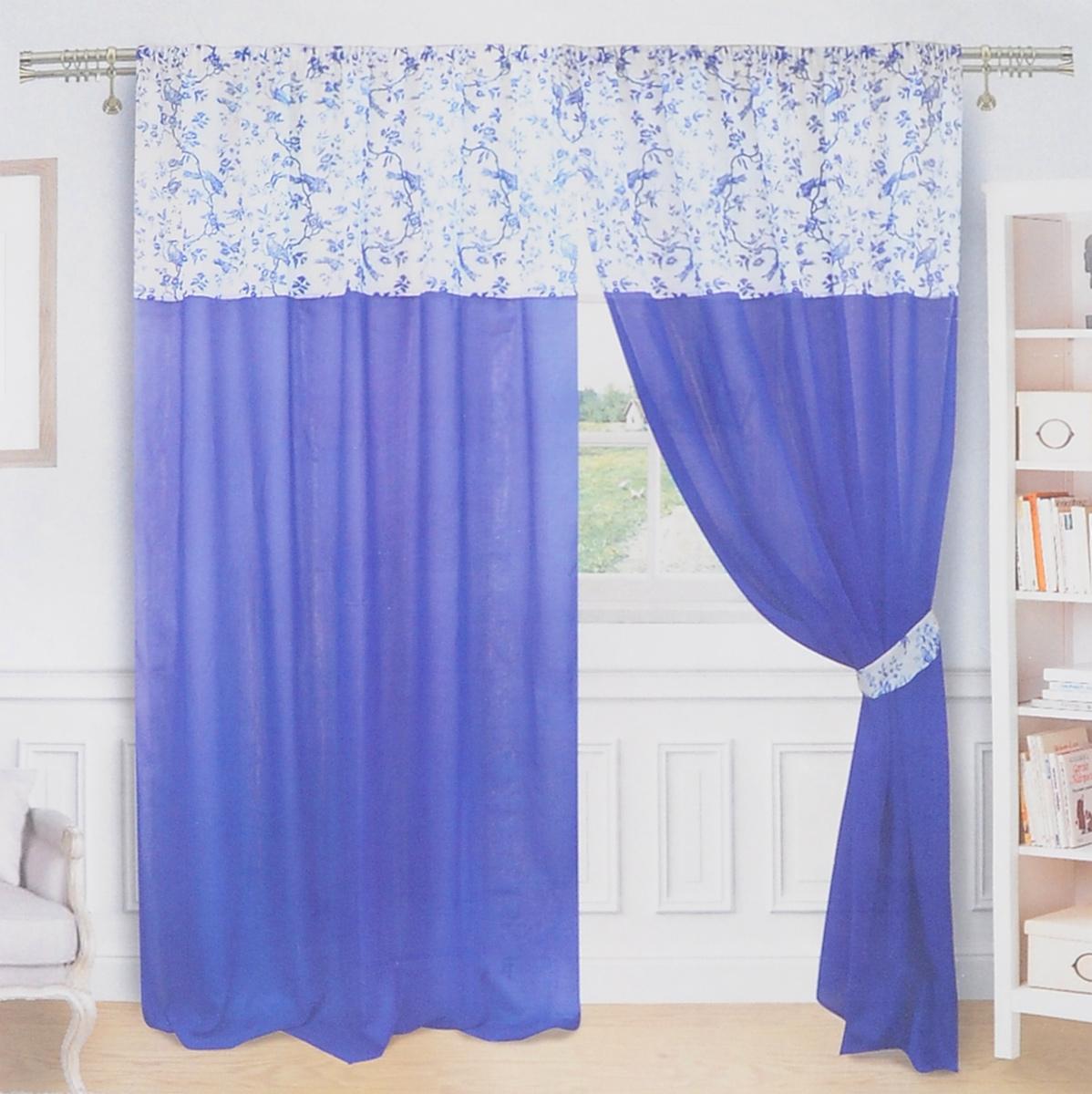 Комплект штор Zlata Korunka, на ленте, цвет: синий, белый, высота 250 см. 5557155571Роскошный комплект Zlata Korunka, выполненный из льна и полиэстера, великолепно украсит любое окно. Комплект состоит из двух портьер и двух подхватов. Плотная ткань и приятная, приглушенная цветовая гамма привлекут к себе внимание и органично впишутся в интерьер помещения. Комплект крепится на карниз при помощи шторной ленты, которая поможет красиво и равномерно задрапировать верх. Портьеры можно зафиксировать в одном положении с помощью двух подхватов. Этот комплект будет долгое время радовать вас и вашу семью! В комплект входит: Портьера: 2 шт. Размер (ШхВ): 180 см х 250 см. Подхват: 2 шт. Размер (ШхВ): 65 см х 9,5 см.