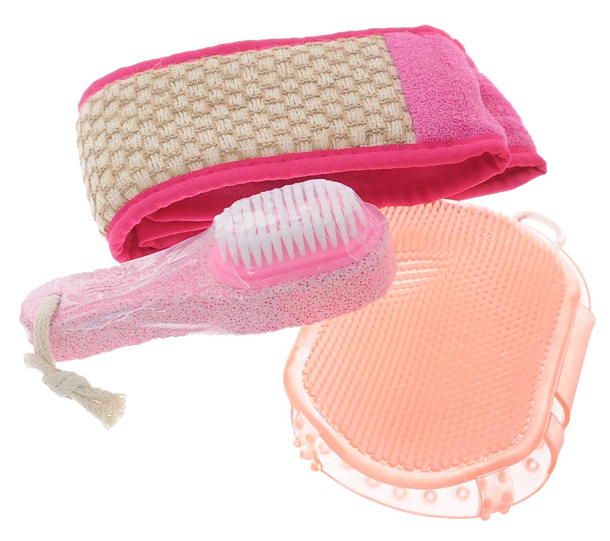 Набор для бани Eva К празднику, 3 предметаБ33063Набор для бани Eva К празднику включает в себя мочалку, массажер и пемзу. Мочалка выполнена хлопка, рами и ППУ, массажер - высококачественный ПВХ. Мочалка выравнивает текстуры кожи и очищает поры. Пемза обеспечивает уход за кожей ног. Мочалка позволяет расслабиться и избавиться от целлюлита. Такой набор поможет с удовольствием и пользой провести время в бане, а также станет чудесным подарком друзьям и знакомым, которые по достоинству оценят его при первом же использовании. Размер мочалки: 70 см х 10 см. Размер массажера: 15,5 см х 9,5 см. Размер пемзы: 14 см х 4,5 см х 3,5 см.