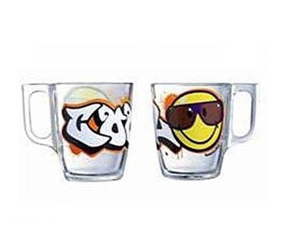 Кружка Luminarc Smiley Graffiti, 250 млJ1002Кружка Luminarc Smiley Graffiti изготовлена из упрочненного стекла. Такая кружка прекрасно подойдет для горячих и холодных напитков. Она дополнит коллекцию вашей кухонной посуды и будет служить долгие годы. Объем кружки: 250 мл. Диаметр кружки (по верхнему краю): 7 см. Высота кружки: 9 см.