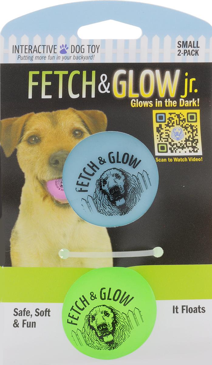Игрушка для собак Fetch & Glow Jr. Светящийся мяч, цвет: голубой, салатовый, диаметр 4,5 см, 2 шт6052_голубой, салатовыйНабор для собак Fetch & Glow Jr. Светящийся мяч состоит из 2 игрушек, изготовленных из прочной цветной литой резины. Изделия светятся в темноте, благодаря чему вы не потеряете игрушки. Предназначены для игр с собакой любого возраста. Такая игрушка привлечет внимание вашего любимца и не оставит его равнодушным. Диаметр: 4,5 см. Комплектность: 2 шт.
