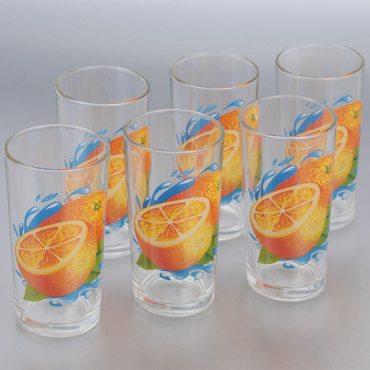 Набор стаканов ОСЗ Апельсин, 230 мл, 6 шт05С1256 ДЗ У АпКНабор ОСЗ Апельсин состоит из шести высоких стаканов, выполненных из прочного натрий-кальций-силикатного стекла. Изделия украшены красочным рисунком в виде апельсинов. Такой набор прекрасно подойдет для воды, сока, молока, лимонада и других напитков. Он ярко дополнит кухонный интерьер и станет практичным и полезным приобретением. Диаметр стакана: 6,5 см. Высота стакана: 12,5 см.