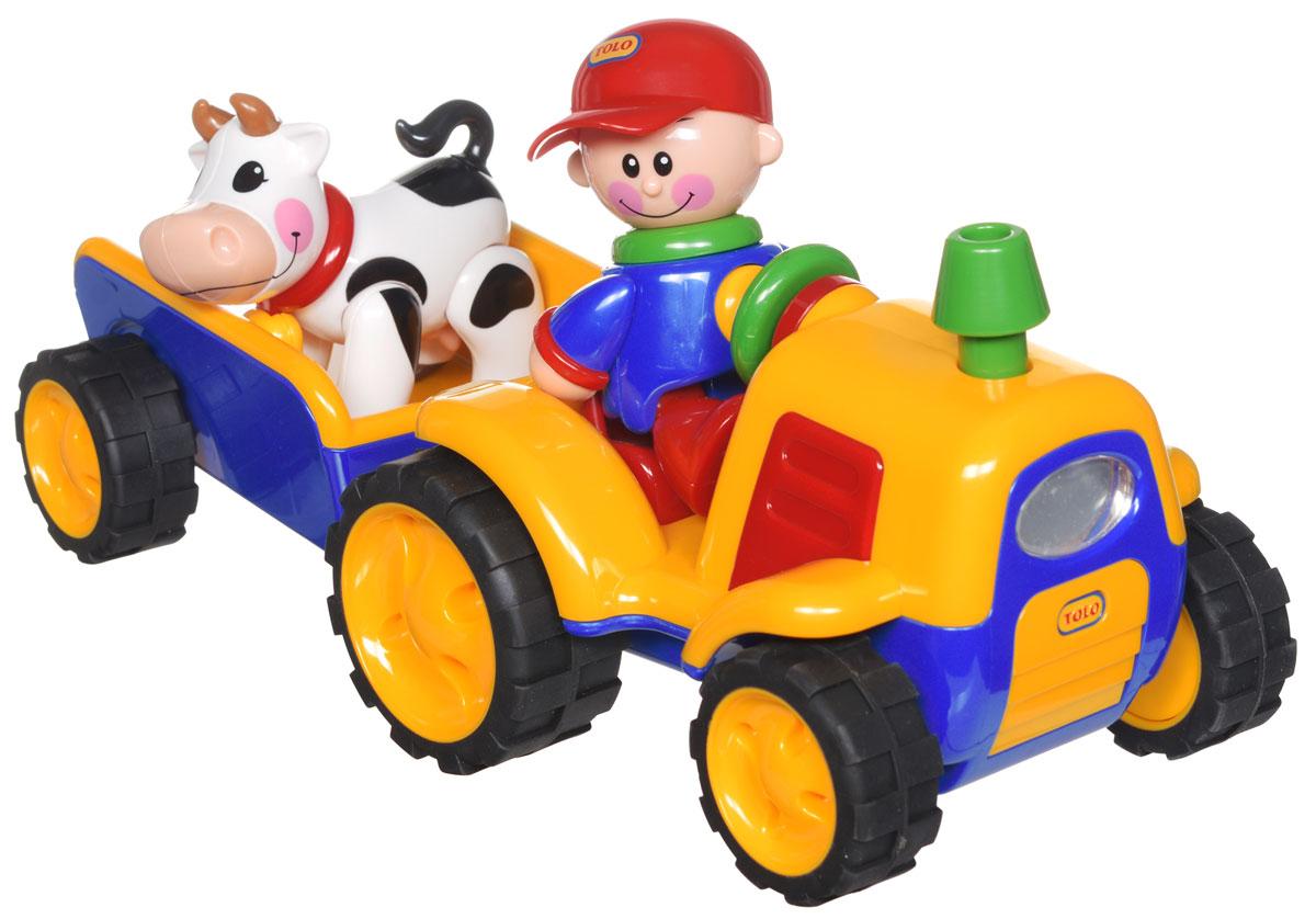 Tolo Развивающая игрушка Трактор с прицепом89746Развивающая игрушка Tolo Трактор с прицепом обязательно привлечет внимание вашей крохи. Состоит из трактора с вместительным прицепом, фигурок фермера и коровы. Игрушки имеют гладкую поверхность, отсутствуют острые края и углы, что делают модели безопасными для детей и не дают им случайно пораниться в процессе игры. Все части тела фигурки поворачиваются, издавая забавные щелчки и треск. Всеми персонажами можно играть по отдельности. При нажатии на голову фермера - трактор начинает двигаться. При активации специальной кнопки на руле ярко загорается передняя фара, звучит звук работающего мотора, при остановке машины загораются стоп-сигналы. У прицепа открывается задний борт, чтобы коровка могла спуститься. Оригинальная игрушка развивает мелкую моторику, слуховое, звуковое и световое восприятия малыша, а также способствует развитию памяти, воображения и рассуждения. Игры с такой игрушкой помогают в развитии силы и координации движения. А еще ребенок...