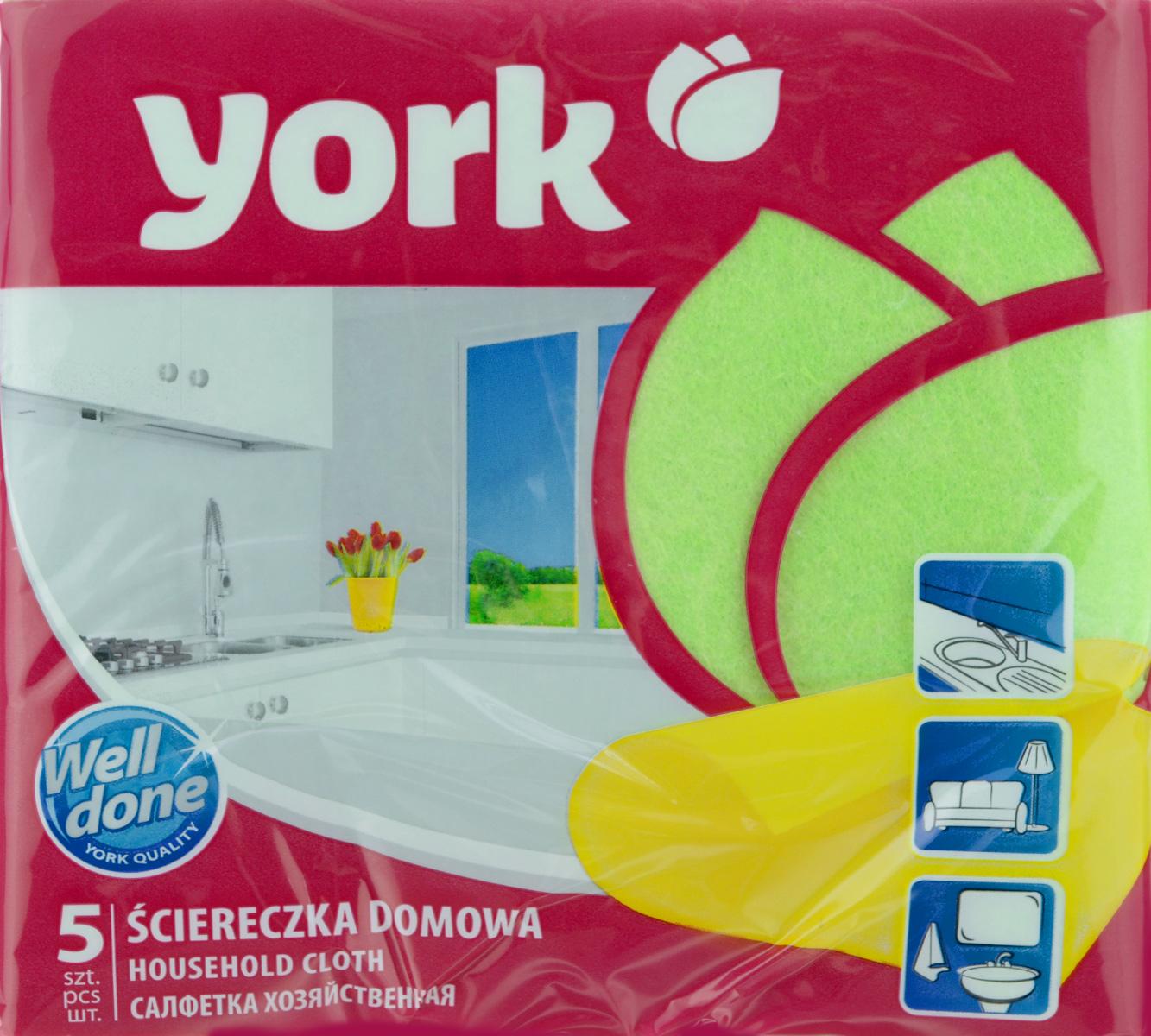 Салфетка хозяйственная York, цвет: зеленый, 35 х 35 см, 5 шт2002_зеленыйУниверсальная салфетка York предназначена для мытья, протирания и полировки. Она выполнена из вискозы с добавлением полипропиленового волокна, отличается высокой прочностью. Хорошо поглощает влагу, эффективно очищает поверхности и не оставляет ворсинок. Идеальна для ухода за столешницами и раковиной на кухне, за стеклом и зеркалами, деревянной мебелью. Может использоваться в сухом и влажном виде. В комплект входят 5 салфеток.