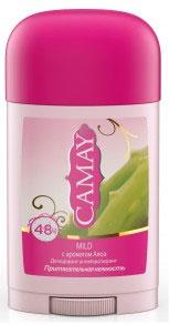 Camay Антиперспирант карандаш Mild 45 гр32025913Твердый дезодорант Camay Алоэ - легкий аромат ромашки и алоэ расслабляет и наполняет нежностью.