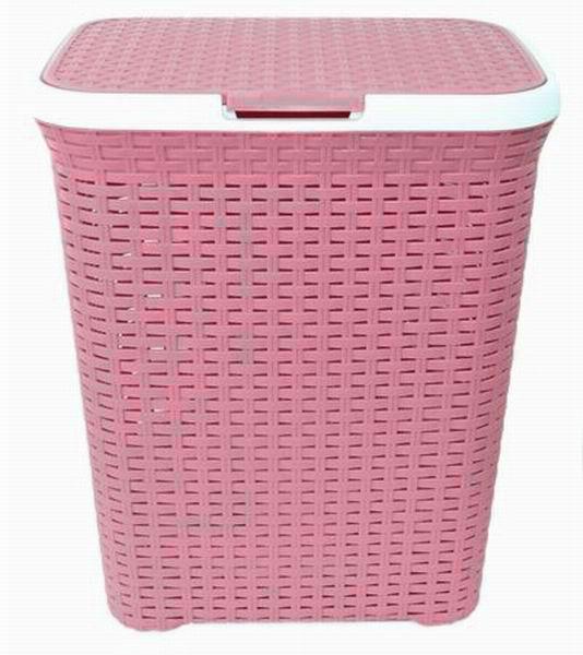 Корзина для белья Violet, с крышкой, цвет: белый, розовый, 60 л. 1860/91860/9Вместительная корзина Violet изготовлена из прочного цветного пластика. Она отлично подойдет для хранения белья перед стиркой. Специальные отверстия на стенках создают идеальные условия для проветривания. Изделие оснащено крышкой и двумя эргономичными ручками для переноски. Такая корзина для белья прекрасно впишется в интерьер ванной комнаты.