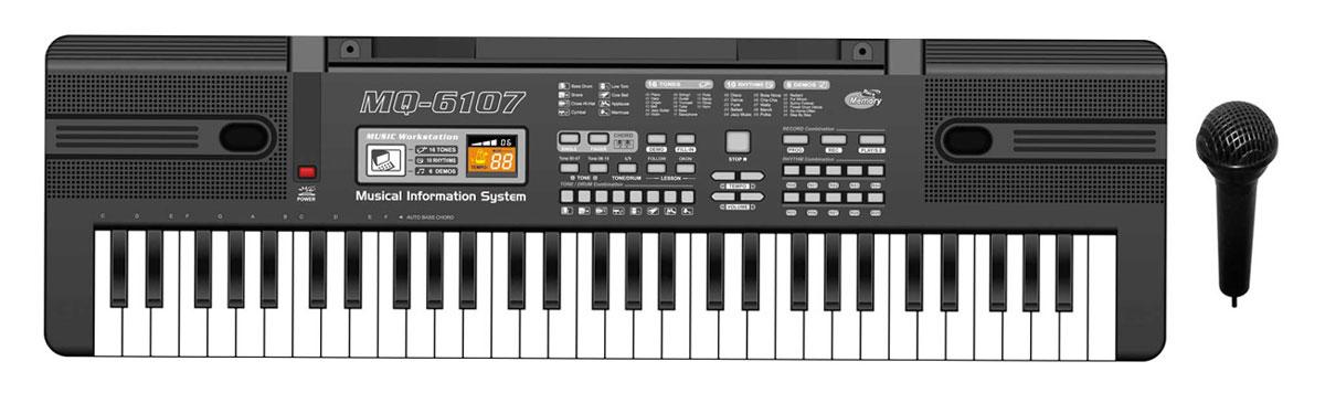 Zhorya Музыкальный синтезатор с микрофономХ75875Детский синтезатор Zhorya привлечет внимание вашего ребенка и доставит ему много удовольствия от часов, посвященных игре с ним. На панели синтезатора расположена 61 клавиша, кнопки регулировки звука и темпа, кнопки выбора ритма, программы обучения, функции записи и воспроизведения, а при нажатии на кнопку Demo ребенок сможет прослушать различные мелодии, уже записанные на синтезаторе, и использовать их для составления собственных мелодий. В программу синтезатора включено 6 демо-песен, 16 звуков, 10 ритмов. В набор входит микрофон, который подключается к синтезатору. Для усиления звука можно подключить колонки. Если вы хотите с детства привить ребенку музыкальный вкус, то игрушечный синтезатор, который отлично подходит для самых маленьких музыкантов - ваш выбор. С помощью этого синтезатора ребенок сможет развить свои музыкальные способности и порадовать друзей и близких великолепным концертом. Для работы требуются 4 батарейки типа АА (не входят в комплект).