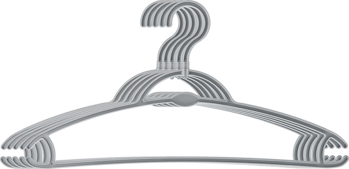 Вешалка для одежды York, вращающаяся, цвет: серый, 5 шт. 67016701_серыйВешалка для одежды York изготовлена из прочного пластика. Наличие вращающегося крючка позволяет располагать вешалки под любым углом. Благодаря шероховатой поверхности, одежда не будет скользить и падать с вешалки. Изделие имеет перекладину, отверстие и два крючка. Подходит для брюк, блузок, шарфов, галстуков. Незаменимый аксессуар для аккуратного хранения вещей.