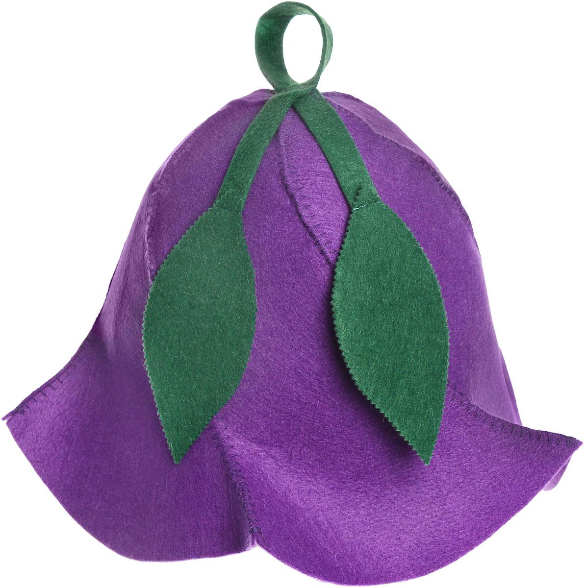 Шапка для бани и сауны Доктор баня Вьюнок, цвет: фиолетовый905245_фиолетовыйШапка для бани и сауны Доктор баня Вьюнок изготовлена из фильца (100% полиэстер) - нетканого полотна. Это незаменимый аксессуар для любителей попариться в русской бане и для тех, кто предпочитает сухой жар финской бани. Необычный дизайн изделия поможет сделать ваш отдых приятным и разнообразным, к тому же шапка защитит вас от головокружения в парилке, ваши волосы - от сухости и ломкости, а голову - от перегрева. Такая шапка станет отличным подарком для любителей отдыха в бане или сауне. Диаметр основания шапки: 31 см. Высота шапки: 26 см.