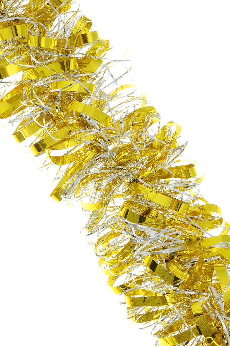 Мишура новогодняя Sima-land, цвет: серебристый, желтый, диаметр 8 см, длина 200 см. 702580702580_серебристый,желтыйМишура новогодняя Sima-land, выполненная из двухцветной фольги, поможет вам украсить свой дом к предстоящим праздникам. Мишура армирована, то есть имеет проволоку внутри и способна сохранять приданную ей форму. Новогодняя елка с таким украшением станет еще наряднее. Новогодней мишурой можно украсить все, что угодно - елку, квартиру, дачу, офис - как внутри, так и снаружи. Можно сложить новогодние поздравления, буквы и цифры, мишурой можно украсить и дополнить гирлянды, можно выделить дверные колонны, оплести дверные проемы. Коллекция декоративных украшений из серии Зимнее волшебство принесет в ваш дом ни с чем не сравнимое ощущение праздника! Создайте в своем доме атмосферу тепла, веселья и радости, украшая его всей семьей.