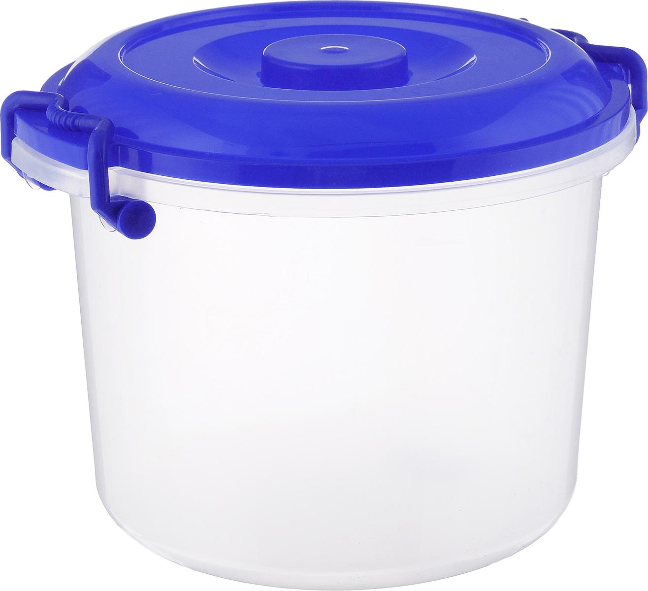 Контейнер Альтернатива, цвет: синий, прозрачный, 8 лM098_синий, прозрачныйКонтейнер Альтернатива изготовлен из высококачественного пищевого пластика. Изделие оснащено крышкой и ручками, которые плотно закрывают контейнер. Также на крышке имеется ручка для удобной переноски. Емкость предназначена для хранения различных бытовых вещей и продуктов. Такой контейнер очень функционален и всегда пригодится на кухне. Диаметр контейнера (по верхнему краю): 25 см. Высота контейнера (без учета крышки): 21 см. Объем: 8 л.