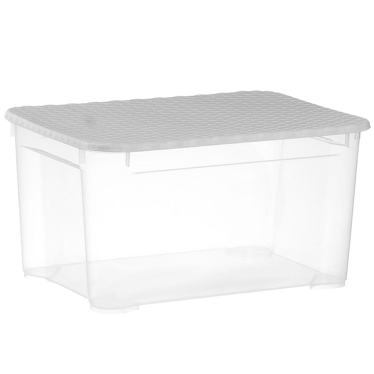 Ящик универсальный Econova Ротанг, с крышкой, цвет: прозрачный, серый, 55,5 см х 39 см х 29 смС12812_прозрачный, серыйУниверсальный ящик Econova Ротанг выполнен из прочного пластика и предназначен для хранения различных предметов. Ящик оснащен удобной крышкой с рельефной поверхностью с имитацией плетения. Очень удобный и вместительный, такой ящик защитит ваши вещи от пыли и грязи.