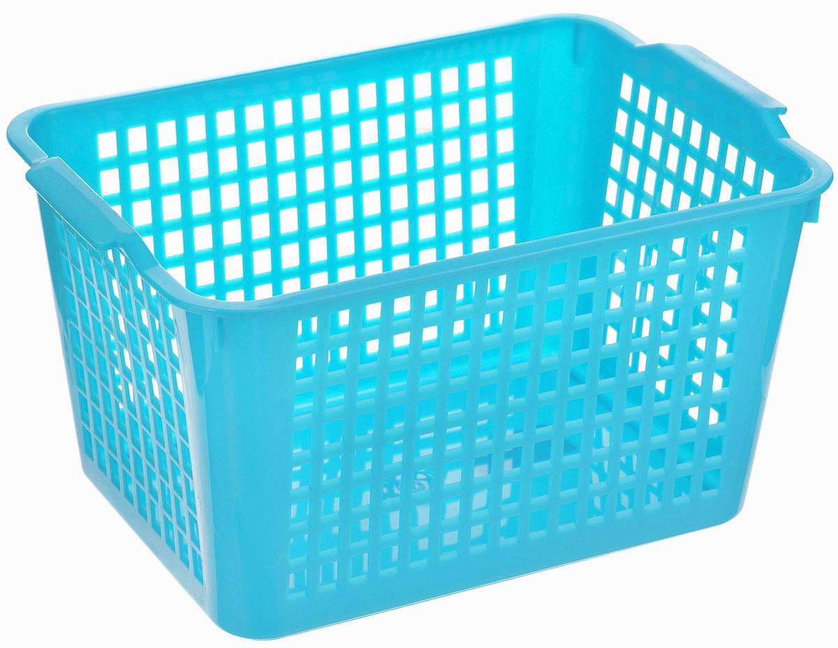 Корзина универсальная Econova, цвет: голубой, 29 х 18,5 х 12,5 смС12245_голубойУниверсальная корзинка Econova изготовлена из высококачественного пластика с перфорированными стенками и сплошным дном. Такая корзинка непременно пригодится в быту, в ней можно хранить кухонные принадлежности, специи, аксессуары для ванной и другие бытовые предметы, диски и канцелярию.