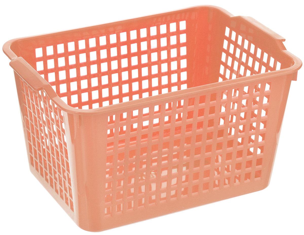 Корзина универсальная Econova, цвет: коралловый, 29 х 18,5 х 12,5 смС12245_коралловыйУниверсальная корзинка Econova изготовлена из высококачественного пластика с перфорированными стенками и сплошным дном. Такая корзинка непременно пригодится в быту, в ней можно хранить кухонные принадлежности, специи, аксессуары для ванной и другие бытовые предметы, диски и канцелярию.