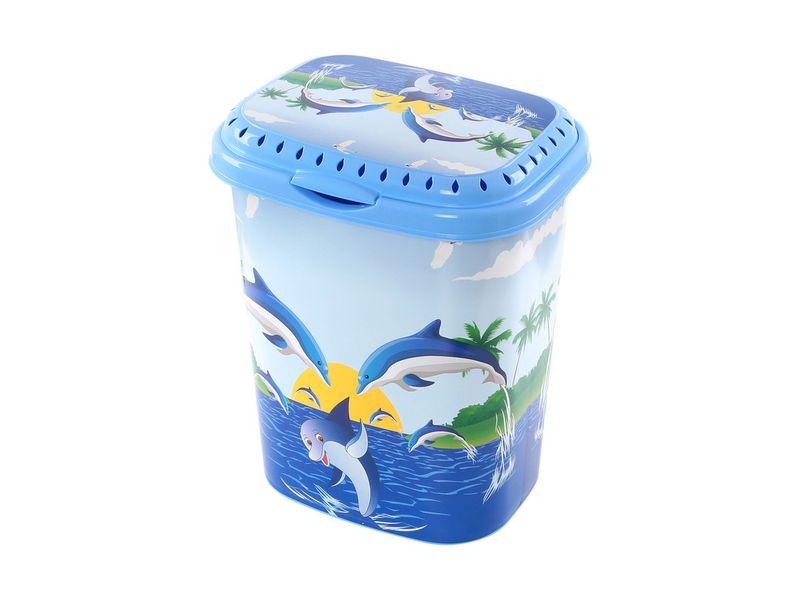Корзина для белья Violet Дельфин, 40 л1940/83Корзина для белья Violet Дельфин изготовлена из высокопрочного износостойкого пластика и оформлена красочным рисунком. Предназначена для хранения грязного белья перед стиркой. Изделие снабжено удобной крышкой с перфорацией, что обеспечивает естественную вентиляцию воздуха. Благодаря яркому необычному дизайну, такая корзина станет настоящим украшением ванной комнаты.