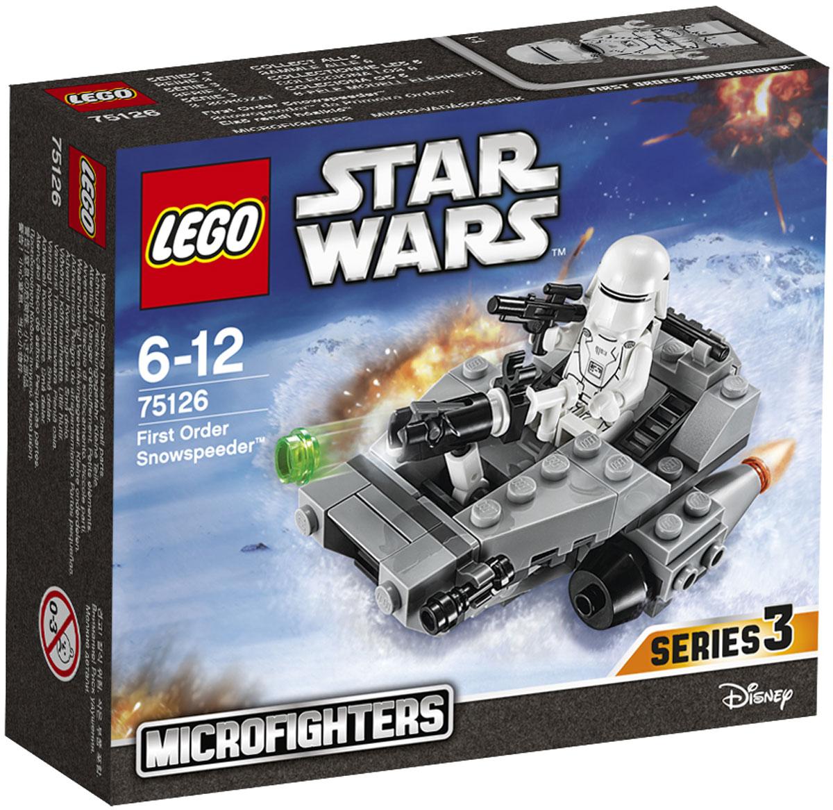 LEGO Star Wars Конструктор Снежный спидер Первого Ордена 7512675126Конструктор Lego Star Wars Снежный спидер Первого Ордена приведет в восторг любого поклонника знаменитой космической саги Звездные войны. Конструктор содержит 91 пластиковый элемент, с помощью которых вы сможете собрать оригинальную боевую машину из вселенной Звездных войн. Вступай на территорию Сопротивления на Снежном спидере Первого Ордена. Посади Снежного штурмовика Первого Ордена в кабину, запусти двигатели и приготовься стрелять из пушки. Этот быстрый микрофайтер готов к битве! Все элементы набора выполнены из прочного безопасного пластика. Снежный спидер стреляет небольшими снарядами, входящими в набор. Игры с конструкторами помогут ребенку развить воображение, внимательность, пространственное мышление и творческие способности. Такой конструктор надолго займет внимание малыша и непременно станет его любимой игрушкой.