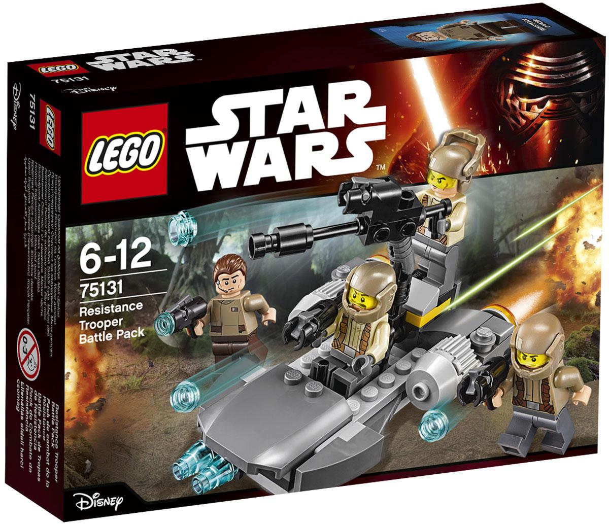 LEGO Star Wars Конструктор Боевой набор Сопротивления 7513175131Конструктор Lego Star Wars Боевой набор Сопротивления приведет в восторг любого поклонника знаменитой космической саги Звездные войны. Конструктор содержит 112 пластиковых элементов, с помощью которых вы сможете собрать оригинальную боевую машину из вселенной Звездных войн. Поблизости обнаружены и должны быть перехвачены силы Первого Ордена. Размести отряд Сопротивления на спидере, заряди пушку и отправляйся на задание, чтобы найти их! Все элементы набора выполнены из прочного безопасного пластика. Корабль и бластеры солдат стреляют небольшими снарядами, входящими в набор. Также в набор входит фигурка офицера Сопротивления и фигурки солдат. Игры с конструкторами помогут ребенку развить воображение, внимательность, пространственное мышление и творческие способности. Такой конструктор надолго займет внимание малыша и непременно станет его любимой игрушкой.
