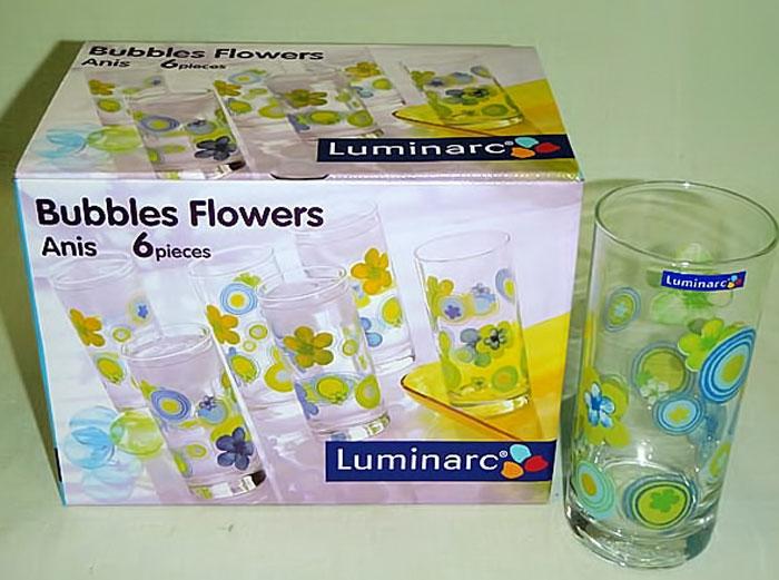 Набор стаканов Luminarc Bubble Flower Anis, 270 мл, 6 штH8008Набор Luminarc Bubble Flower Anis состоит из 6 высоких стаканов, выполненных из высококачественного стекла и украшенных ярким рисунком. Изделия имеют стильный дизайн, изящную форму и ослепительный блеск. Подходят для сока, воды, лимонада и других напитков. Такой набор станет прекрасным дополнением сервировки стола, подойдет для ежедневного использования и для торжественных случаев. Можно мыть в посудомоечной машине. Диаметр стакана (по верхнему краю): 6 см. Высота стакана: 13,5 см.
