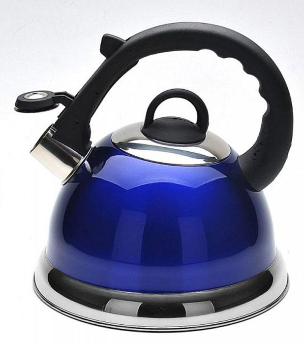 Чайник Mayer & Boch, со свистком, цвет: синий, 2,8 л. 2267522675_синийЧайник со свистком Mayer & Boch изготовлен из высококачественной нержавеющей стали. Капсульное дно обеспечивает равномерный и быстрый нагрев, поэтому вода закипает гораздо быстрее, чем в обычных чайниках. Носик чайника оснащен откидным свистком, звуковой сигнал которого подскажет, когда закипит вода. Свисток открывается нажатием кнопки на ручке, сделанной из пластика. Чайник Mayer & Boch - качественное исполнение и стильное решение для вашей кухни. Подходит для всех типов плит, включая индукционные. Можно мыть в посудомоечной машине. Высота чайника (без учета ручки и крышки): 13,5 см. Высота чайника (с учетом ручки и крышки): 24 см. Диаметр чайника (по верхнему краю): 10,5 см. Диаметр основания: 22 см. Диаметр индукционного дна: 16 см.
