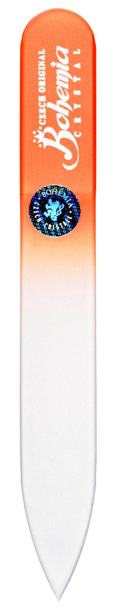 Bohemia Пилочка для ногтей, стеклянная, чехол из мягкого пластика, цвет: оранжевый. cz233-0902в