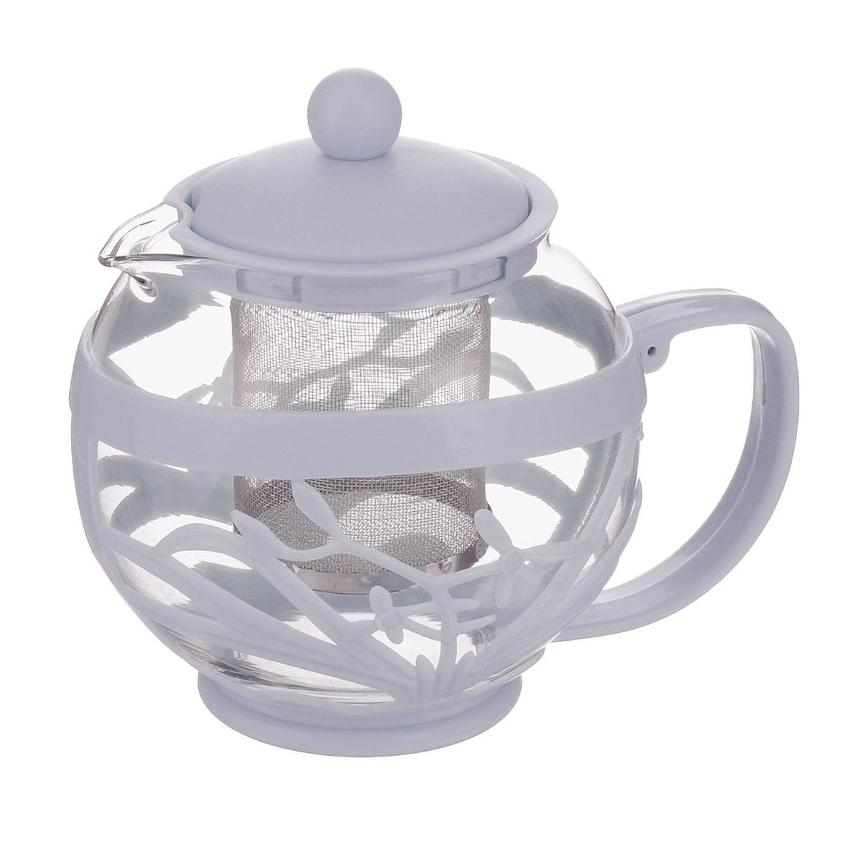 Чайник заварочный Menu Мелисса, с фильтром, цвет: прозрачный, серый, 750 млMLS-75_серЧайник Menu Мелисса изготовлен из прочного стекла и пластика. Он прекрасно подойдет для заваривания чая и травяных напитков. Классический стиль и оптимальный объем делают его удобным и оригинальным аксессуаром. Изделие имеет удлиненный металлический фильтр, который обеспечивает высокое качество фильтрации напитка и позволяет заварить чай даже при небольшом уровне воды. Ручка чайника не нагревается и обеспечивает безопасность использования. Нельзя мыть в посудомоечной машине. Диаметр чайника (по верхнему краю): 8 см. Высота чайника (без учета крышки): 11 см. Размер фильтра: 6 х 6 х 7,2 см.