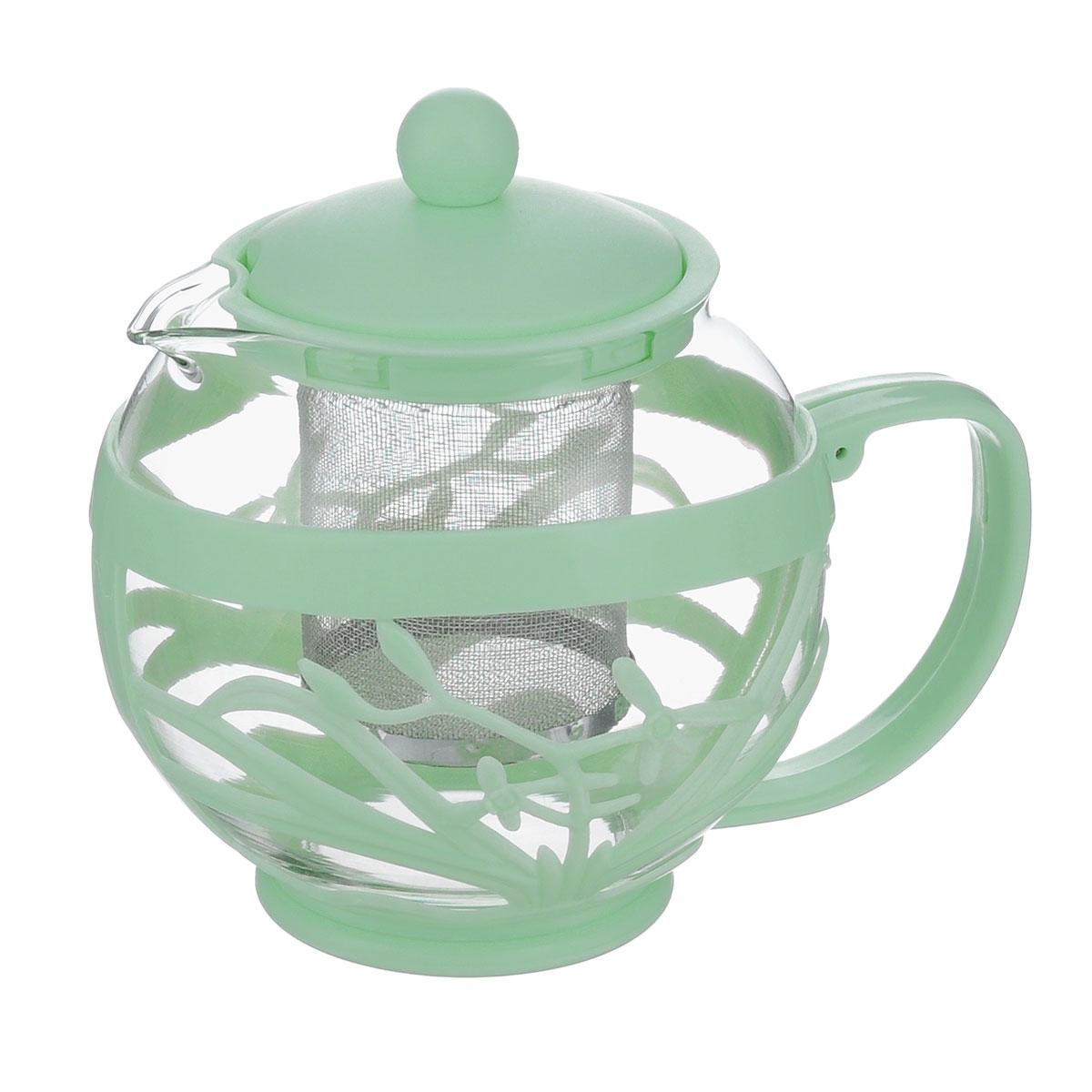 Чайник заварочный Menu Мелисса, с фильтром, цвет: прозрачный, зеленый, 750 млMLS-75_зелЧайник Menu Мелисса изготовлен из прочного стекла и пластика. Он прекрасно подойдет для заваривания чая и травяных напитков. Классический стиль и оптимальный объем делают его удобным и оригинальным аксессуаром. Изделие имеет удлиненный металлический фильтр, который обеспечивает высокое качество фильтрации напитка и позволяет заварить чай даже при небольшом уровне воды. Ручка чайника не нагревается и обеспечивает безопасность использования. Нельзя мыть в посудомоечной машине. Диаметр чайника (по верхнему краю): 8 см. Высота чайника (без учета крышки): 11 см. Размер фильтра: 6 х 6 х 7,2 см.
