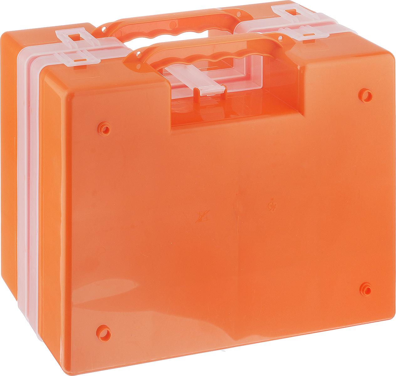 Органайзер Idea, двойной, цвет: оранжевый, 27,2 х 21,7 х 10 смМ 2957_оранжевыйОрганайзер Idea изготовлен из высококачественного прочного пластика и предназначен для хранения и переноски инструментов. Состоит из 2-х органайзеров, прикрепленных друг к другу. Внутри каждого - 14 прямоугольных секций разной формы. Органайзеры надежно закрываются при помощи пластмассовых защелок. Крышки выполнены из прозрачного пластика, что позволяет видеть содержимое. Благодаря специальным крепежам оба органайзера надежно соединены друг с другом. Размеры секций: 24 секции Размер: 6,6 см х 5,3 см х 4,7 см; 4 секции Размер: 8,1 см х 3,3 см х 4,7 см.