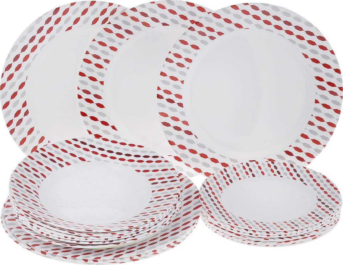 Набор тарелок Luminarc Sixties, 18 штJ1905Набор Luminarc Sixties состоит из 6 суповых тарелок, 6 обеденных тарелок и 6 десертных тарелок. Изделия выполнены из ударопрочного стекла, имеют яркий дизайн и классическую круглую форму. Посуда отличается прочностью, гигиеничностью и долгим сроком службы, она устойчива к появлению царапин и резким перепадам температур. Такой набор прекрасно подойдет как для повседневного использования, так и для праздников. Набор тарелок Luminarc Sixties - это не только яркий и полезный подарок для родных и близких, а также великолепное дизайнерское решение для вашей кухни или столовой. Можно мыть в посудомоечной машине и использовать в микроволновой печи. Диаметр суповой тарелки (по верхнему краю): 22 см. Высота суповой тарелки: 3,2 см. Диаметр обеденной тарелки (по верхнему краю): 26,5 см. Высота обеденной тарелки: 2,3 см. Диаметр десертной тарелки (по верхнему краю): 19 см. Высота десертной тарелки: 1,5 см.