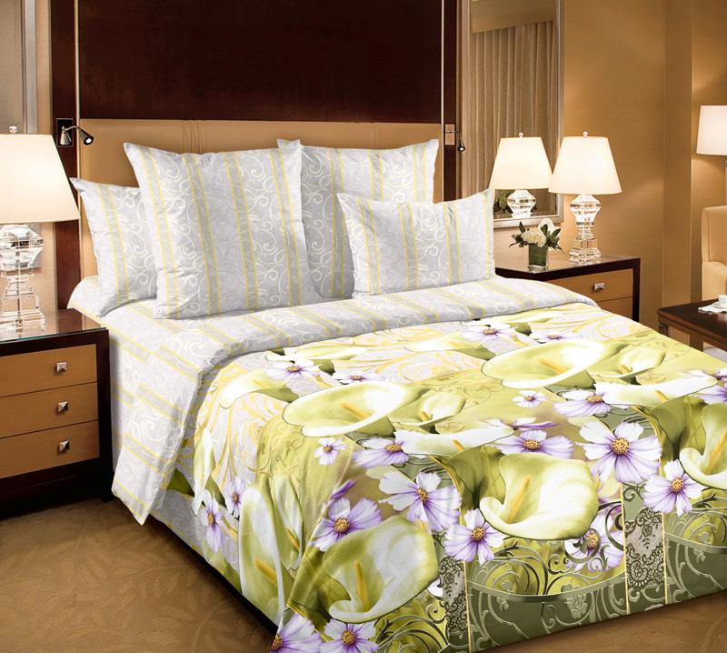 Комплект белья Текс-Дизайн Амалия 1, семейный, наволочки 70х70, цвет: белый, желтый, светло-зеленый6250ПВеликолепное постельное белье Текс-Дизайн Амалия 1 выполнено из высококачественного перкаля (100% хлопок) и украшено изящным цветочным рисунком. Комплект состоит из 2 пододеяльников, простыни и двух наволочек. Перкаль - это тонкая и легкая хлопчатобумажная ткань высокой плотности полотняного переплетения, сотканная из пряжи высоких номеров. При изготовлении перкаля используются длинноволокнистые сорта хлопка, что обеспечивает высокие потребительские свойства материала. Несмотря на свою утонченность, перкаль очень практичен - это одна из самых износостойких тканей для постельного белья.