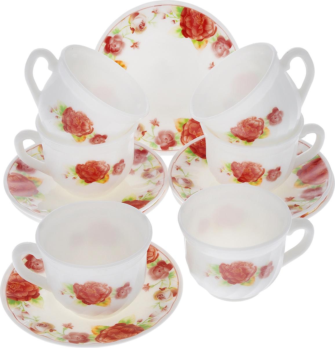 Набор чайный Miolla Камелия, цвет: белый, красный, 12 предметовXWB190/HP55-6A/6617Набор чайный Miolla Камелия состоит из шести чашек и шести блюдец. Предметы набора изготовлены из высококачественной стеклокерамики и оформлены цветочным рисунком. Чайный набор яркого и в тоже время лаконичного дизайна украсит интерьер кухни и сделает ежедневное чаепитие настоящим праздником. Можно мыть в посудомоечной машине и использовать в микроволновой печи. Диаметр чашек (по верхнему краю): 8,5 см. Высота чашек: 6,5 см. Объем чашек: 250 мл. Диаметр блюдец: 14 см. Высота блюдец: 1,5 см.