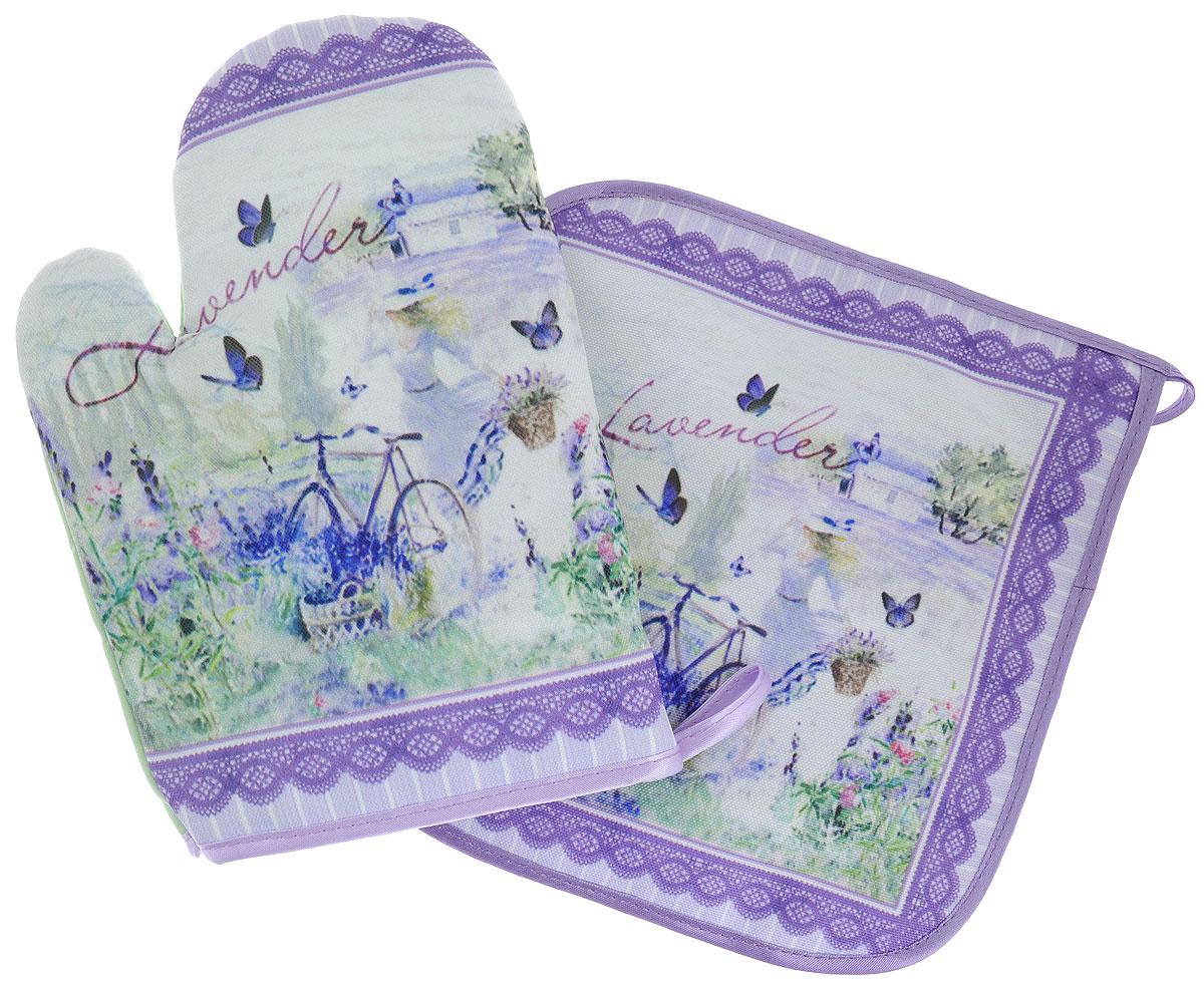 Набор для кухни GiftnHome Лаванда, цвет: фиолетовый, зеленый, 2 предметаSТЕХ-04Набор для кухни GiftnHome Лаванда состоит из рукавицы и прихватки. Изделия оснащены петелькой для подвешивания. Предметы набора выполнены из атласа (искусственного шелка) и полиэстера и оформлены красочным изображением. Такой набор оригинально украсит интерьер и будет уместен на любой кухне. Прекрасно подойдет в качестве подарка, который окажется не только приятным, но и полезным в хозяйстве. Размер рукавицы: 24,5 см х 16,5 см х 2 см. Размер прихватки: 21 см х 21 см.