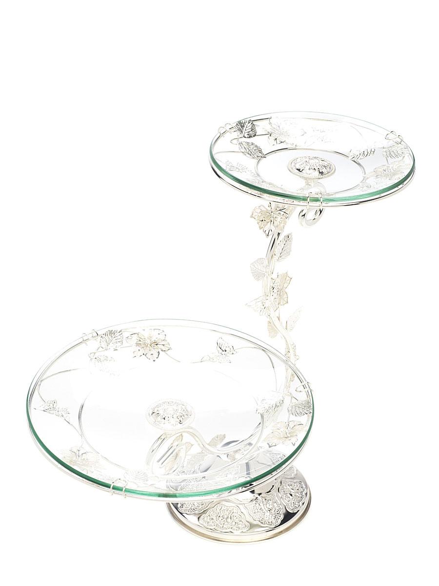 Ваза универсальная Marquis, 2 яруса. 3103-MR3103-MRЭлегантная двухъярусная ваза Marquis, выполненная из высококачественного стекла и стали с серебряно-никелевым покрытием, предназначена для красивой сервировки фруктов и конфет. Изделие украшено оригинальным рельефом и стальными цветами и листьями. Легко собирается и разбирается. Ваза Marquis украсит сервировку вашего стола и подчеркнет прекрасный вкус хозяина, а также станет отличным подарком. Диаметр большого блюда: 24,5 см. Диаметр малого блюда: 17,5 см. Высота вазы: 36 см.