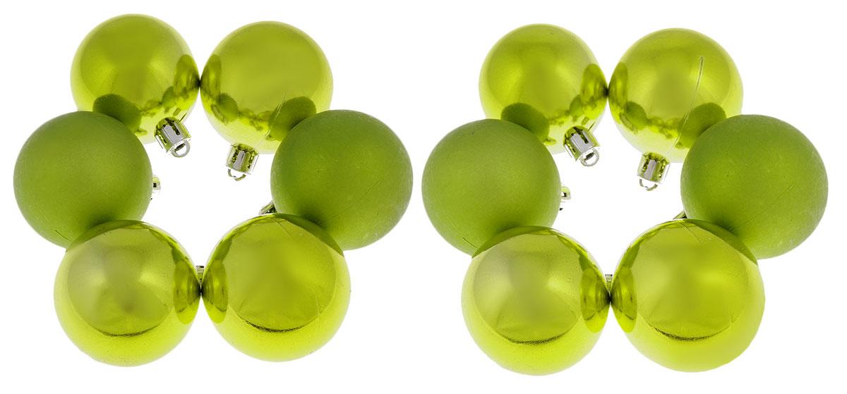 Набор новогодних подвесных украшений EuroHouse, цвет: зелено-желтый, диаметр 5 см, 12 шт. ЕХ 9035ЕХ 9035Набор новогодних подвесных украшений EuroHouse прекрасно подойдет для праздничного декора новогодней ели. Набор состоит из 12 елочных шаров, выполненных из пластика (4 шара с матовой поверхностью и 8 шаров с глянцевой поверхностью). Для удобного размещения на елке для каждого украшения предусмотрена текстильная петелька. Елочная игрушка - символ Нового года. Она несет в себе волшебство и красоту праздника. Создайте в своем доме атмосферу веселья и радости, украшая новогоднюю елку нарядными игрушками, которые будут из года в год накапливать теплоту воспоминаний. Откройте для себя удивительный мир сказок и грез. Почувствуйте волшебные минуты ожидания праздника, создайте новогоднее настроение вашим дорогим и близким.